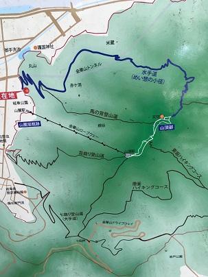 岐阜城へ登る簡易山道地図