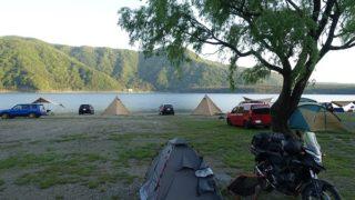西湖自由キャンプ場にテントを張った