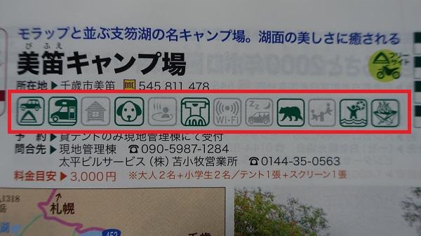 ガイダンスマーク 引用元:北海道キャンピングガイド2020 p83