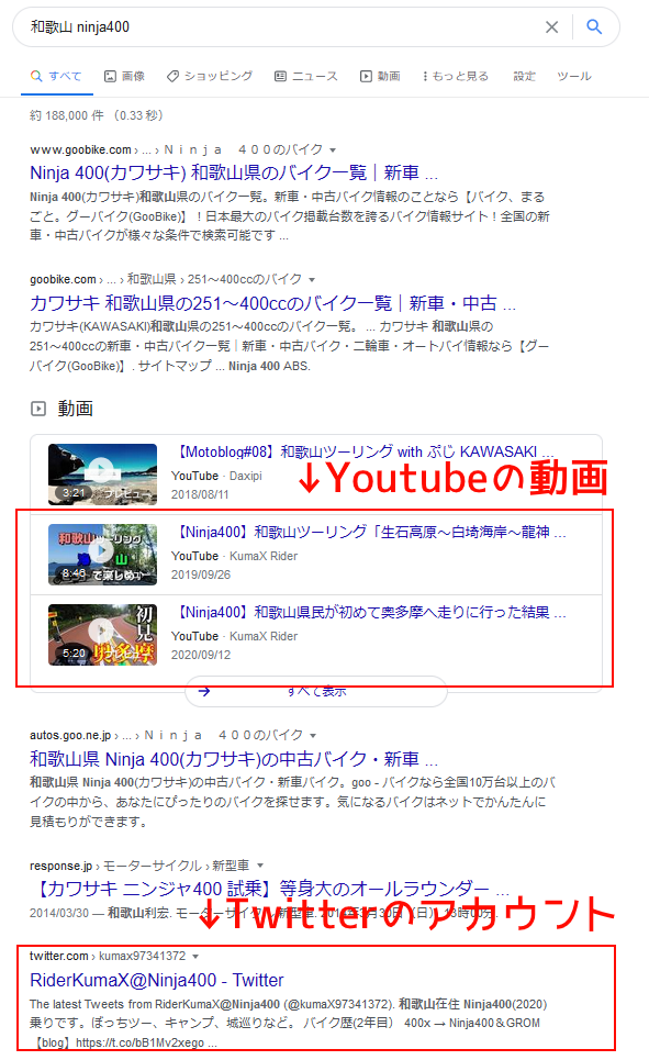 検索で表示される動画とTwitterアカウント